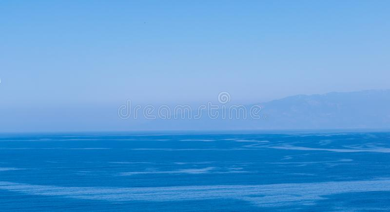 Beautiful blue shades of Mediterranean Sea. Sea and sky background. stock photos