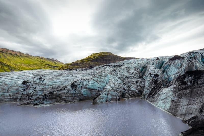 Beautiful blue shining glacier structure at the lagoon fjallsarlon on iceland. Summer royalty free stock photo