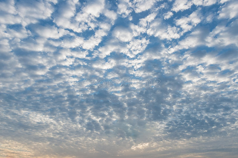 Beautiful blue skies. With fluffy clouds royalty free stock photography