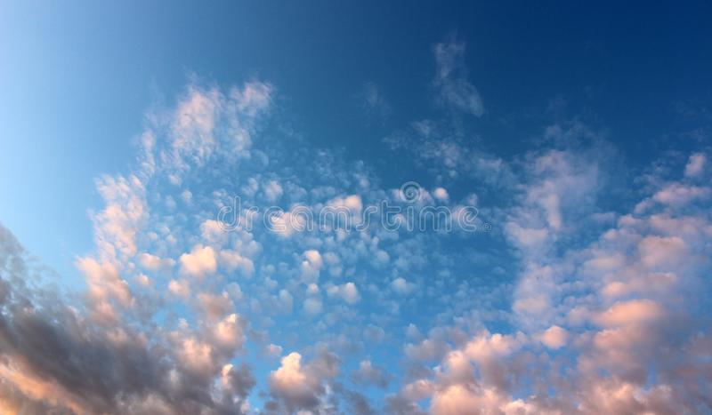 Beautiful blue skies with puffy pink clouds welcome in the morning. Beautiful blue skies overhead with puffy pink and white clouds during early morning sunrise royalty free stock photos