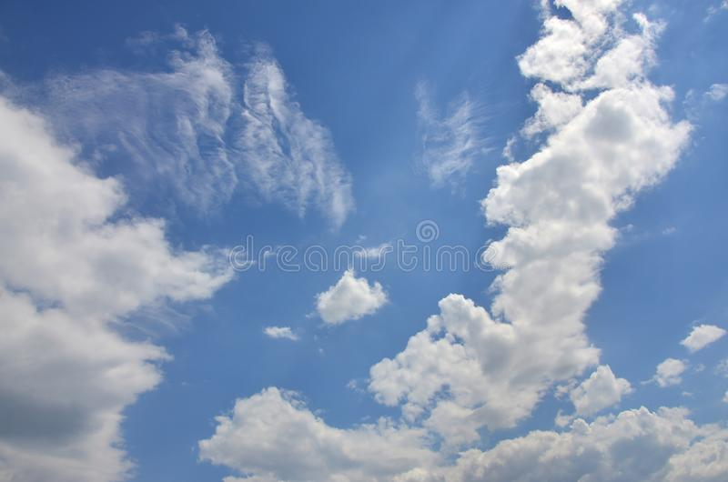 Beautiful blue sky background template with some space for input text message below isolated on blu stock images