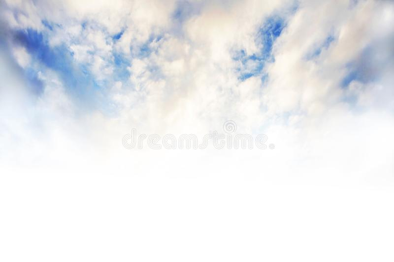 Beautiful Blue Sky Background Template With Some Space for Input Text Message Below Isolated on white. Background royalty free stock photo