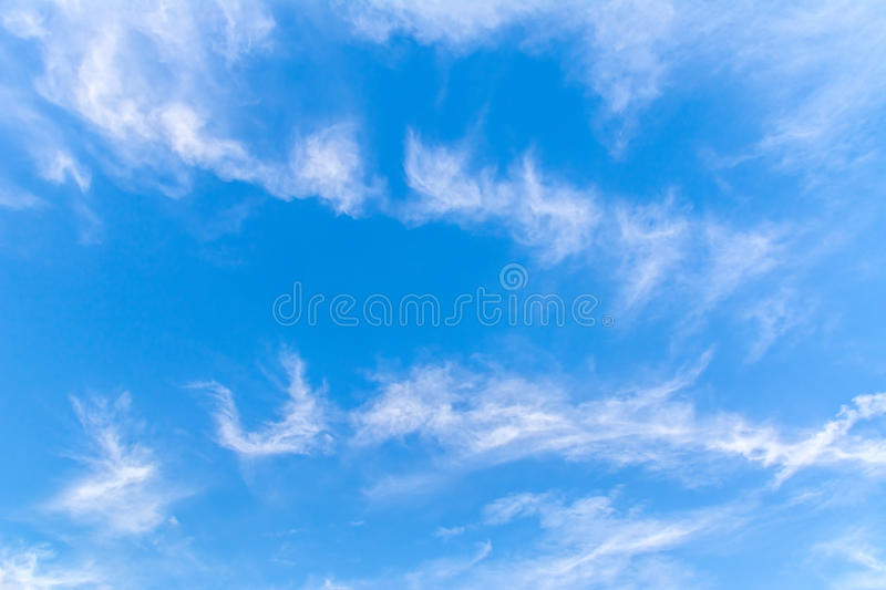 Beautiful blue sky with clouds. Abstract background stock image