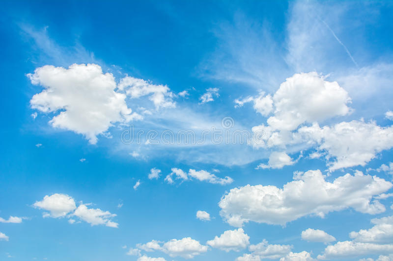 Beautiful blue sky with clouds. Abstract background royalty free stock image