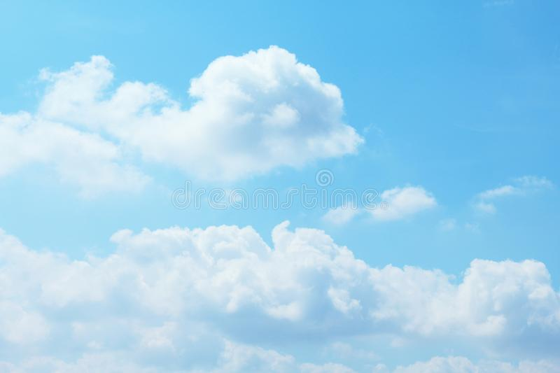 Beautiful blue sky with clouds background and bright lighting clear on Summer stock photo