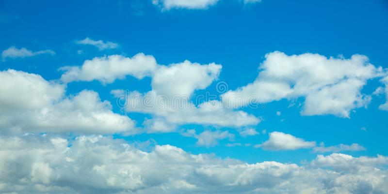 Beautiful blue sky with clouds background. Panoramic. Beautiful blue sky with clouds background. Sky clouds. Sky with clouds weather nature cloud blue royalty free stock photography