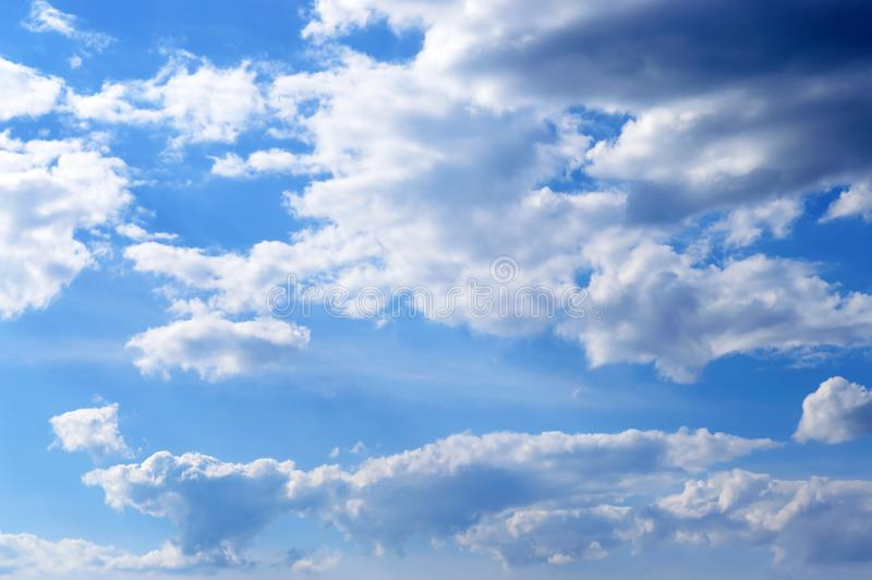 Beautiful blue sky with clouds. Cloudy sky in good weather stock photo