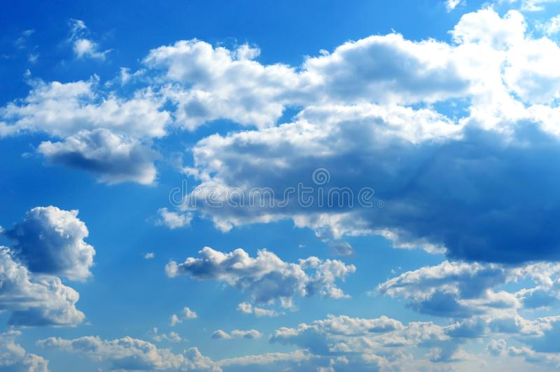 Beautiful blue sky with clouds. Cloudy sky in good weather stock photography