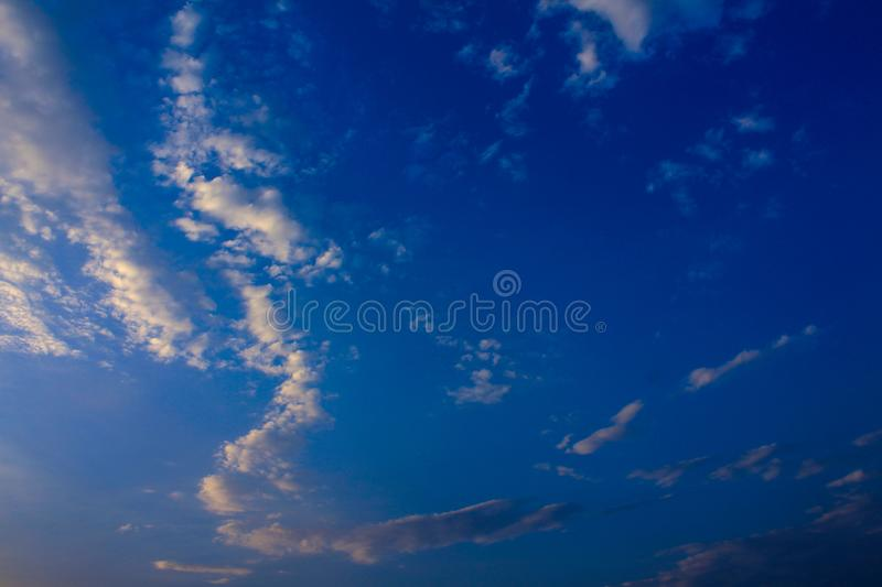 Beautiful blue sky and clouds.The natural background. royalty free stock image