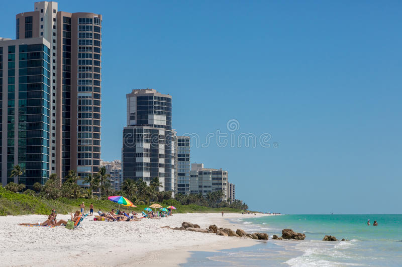 Beautiful blue sky day in the beach of Naples in Florida royalty free stock photo