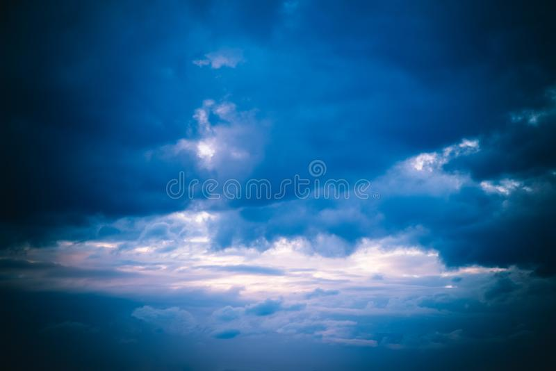 Beautiful Blue Sky with Dramatic Clouds. Nature Spectacles. Beautiful Blue Sky with Dramatic Clouds. A Nature Spectacles backgrounds, color, beauty, white royalty free stock photo