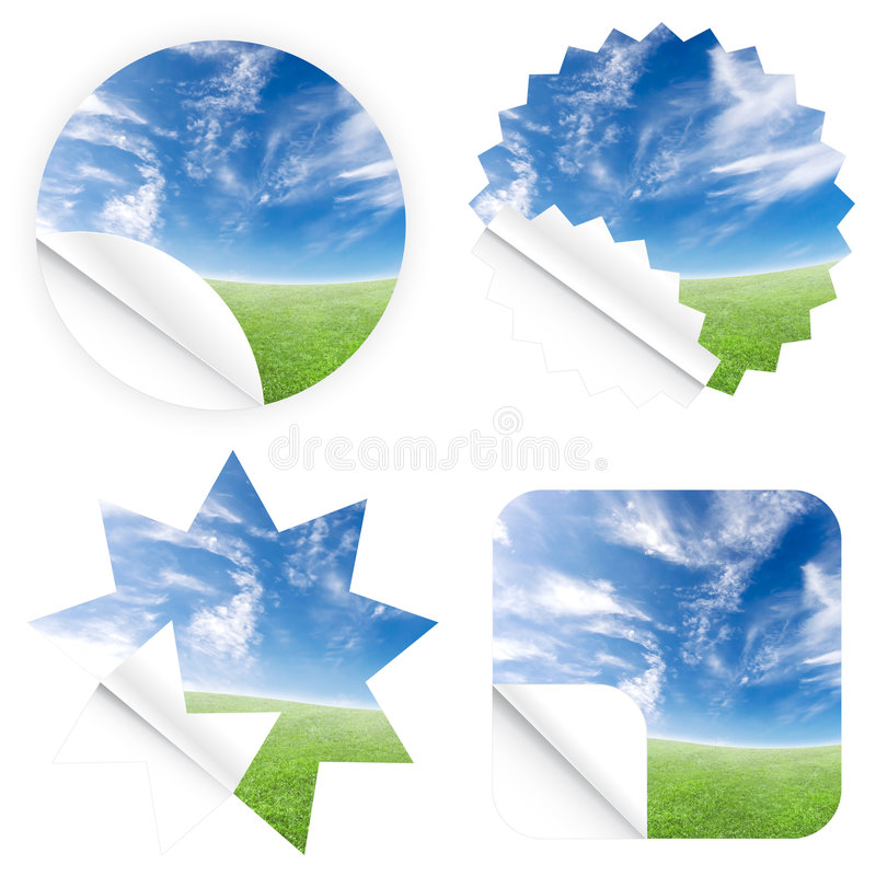 Beautiful blue sky horizon stickers royalty free illustration