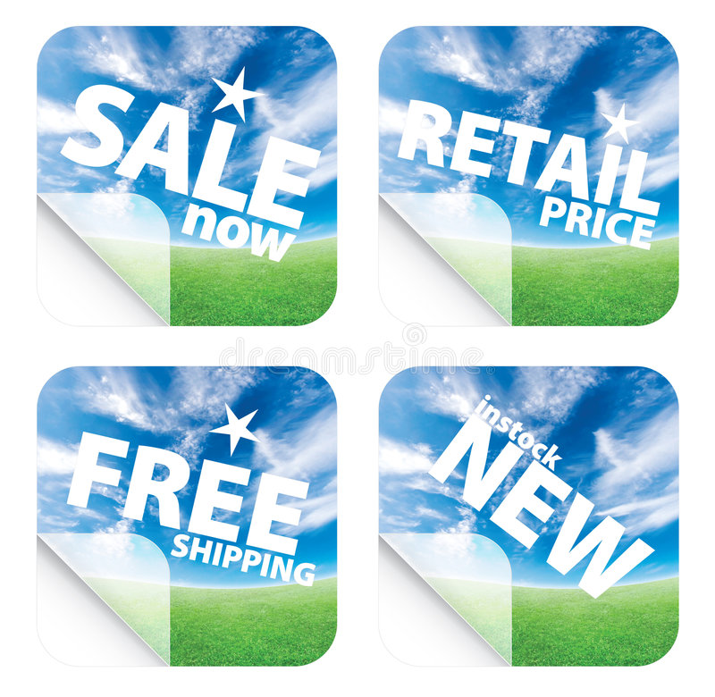 Beautiful blue sky horizon stickers. Illustrations of beautiful stickers with green grass and blue sky. Themes include sales, free shipping, retail price and new stock illustration