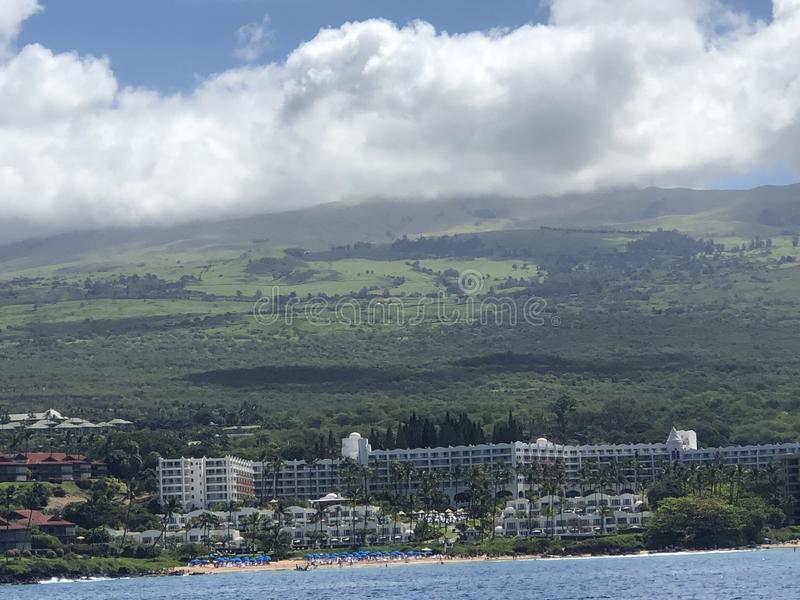 Beautiful blue sky, mountain and sea in Maui!. This is the Beautiful blue sky mountain and sea on Maui Island in the spring stock photography