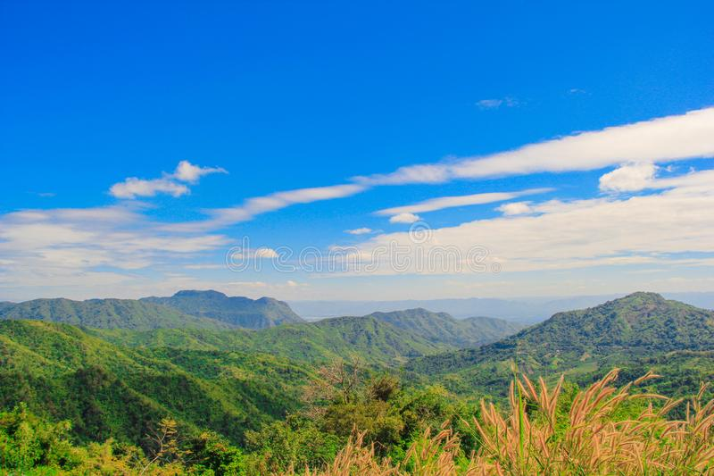 Beautiful blue sky. Mountain views Tropical forest, There are cloud. S and sunny royalty free stock photos