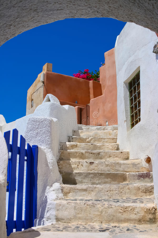 Download Beautiful Blue Sky And Old Staircase In Santorini Stock Image - Image: 18051645