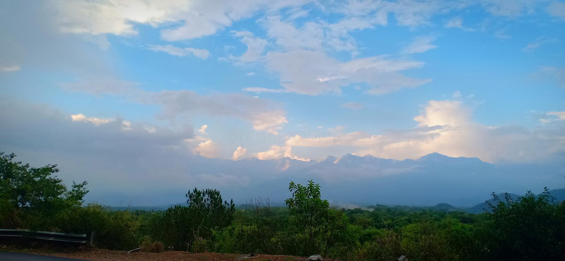 Beautiful blue sky after rain stock photo