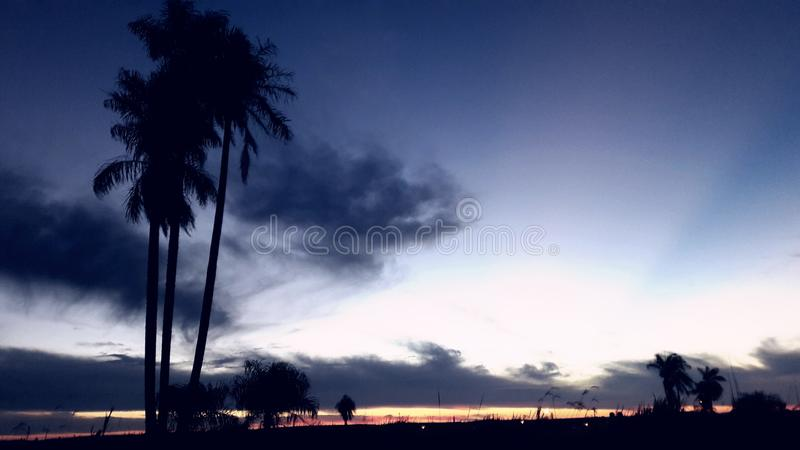Beautiful blue sky silvery with clouds, is coming to cover the night royalty free stock images