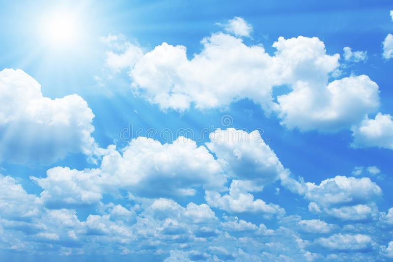 Beautiful blue sky with sun for background. Beautiful of blue sky with sun and cloud for nature background stock photo