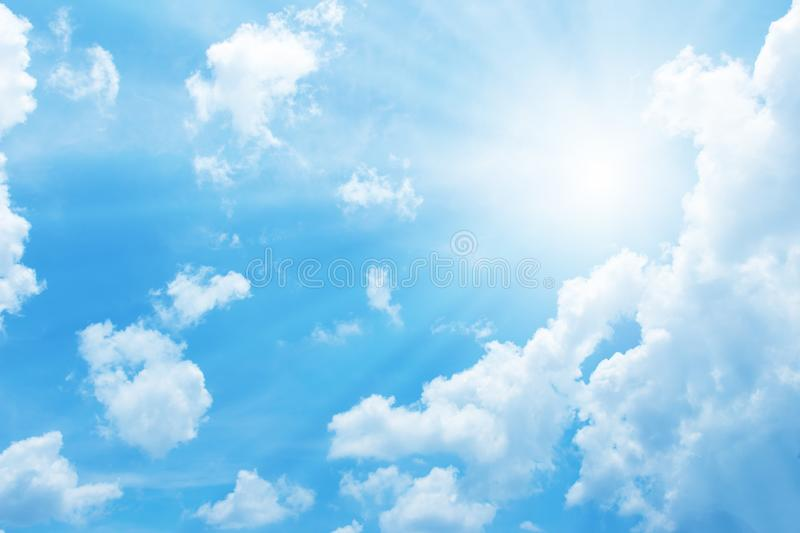 Beautiful blue sky with sun for background. Beautiful of blue sky with sun for background for design royalty free stock photo