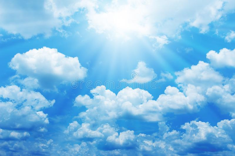 Beautiful blue sky with sun for background stock photography