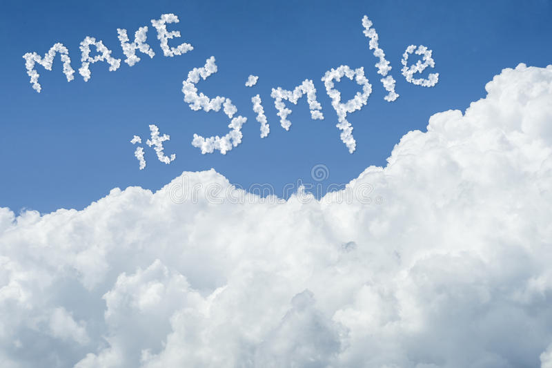Beautiful Blue sky and white cloud. Sunny day.Cloudscape.close up the cloud.text Make it simple.get simple life in new year 2017 stock images