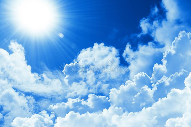 Beautiful blue sky white cloud and sunshine. Religion concept heavenly background. Divine heavenly light. Peaceful sunny day. Beautiful blue sky white cloud and royalty free stock image