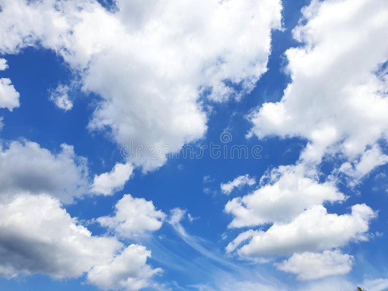 Beautiful blue sky and white cloud in thailand royalty free stock photos