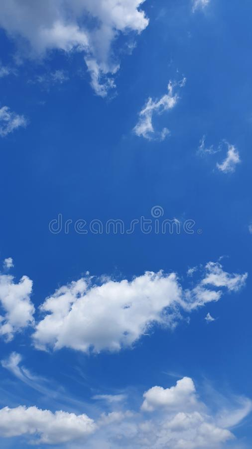 Beautiful blue sky and white cloud in thailand stock photo