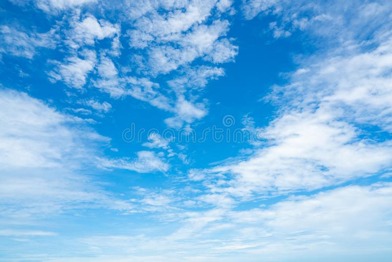 Beautiful blue sky and white clouds abstract background. Cloudscape background. Blue sky and white clouds on sunny day. Nature stock photo