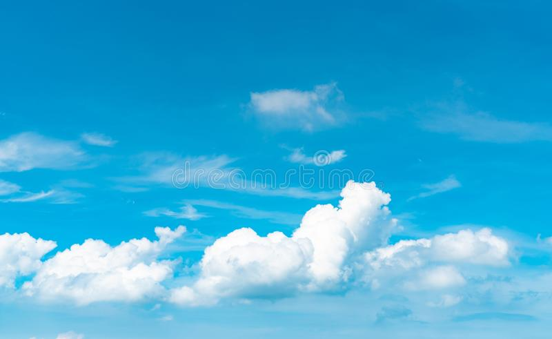 Beautiful blue sky and white cumulus clouds abstract background. Cloudscape background. Blue sky and fluffy white clouds on sunny. Day. Nature weather. Bright stock images