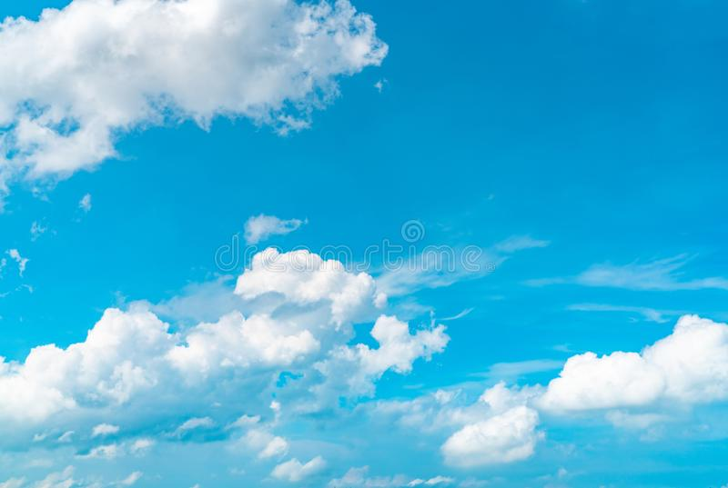 Beautiful blue sky and white cumulus clouds abstract background. Cloudscape background. Blue sky and white clouds on sunny day. Nature weather. Bright day sky stock images