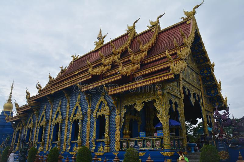 Beautiful Blue Temple in Chiang Rai Thailand royalty free stock images