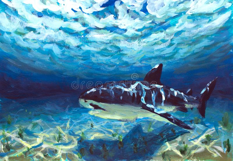 Beautiful blue turquoise underwater world, a reflection of suny rays on seabed. Big fish, shark, fear, danger painting. Impression. Original A beautiful blue stock images