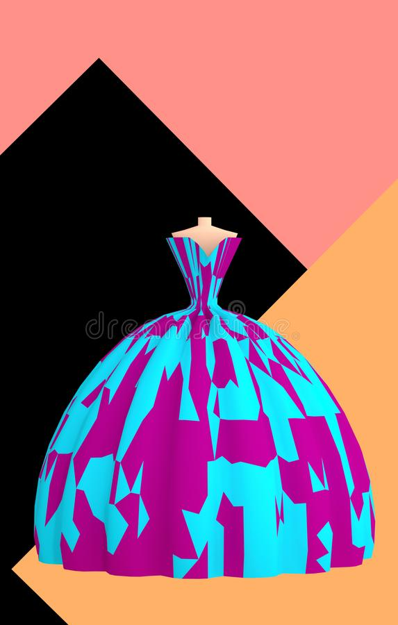 Beautiful blue violet ball gown on abstract background 3D illustration. Beautiful blue violet ball gown for prom on abstract background vertical 3D illustration royalty free illustration