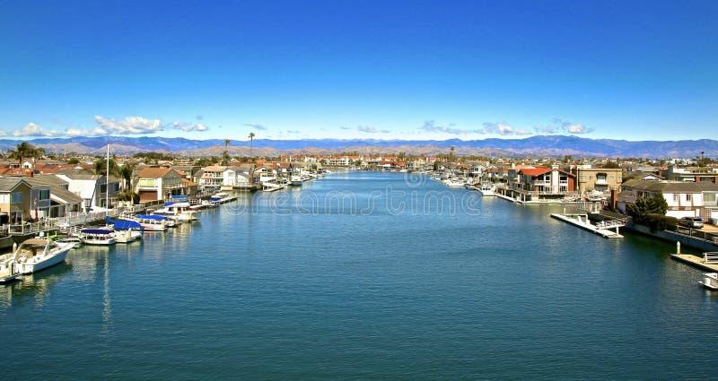 Channel Islands Harbor Oxnard California. Beautiful blue water of Channel Island Harbor in Oxnard Ventura California stock images