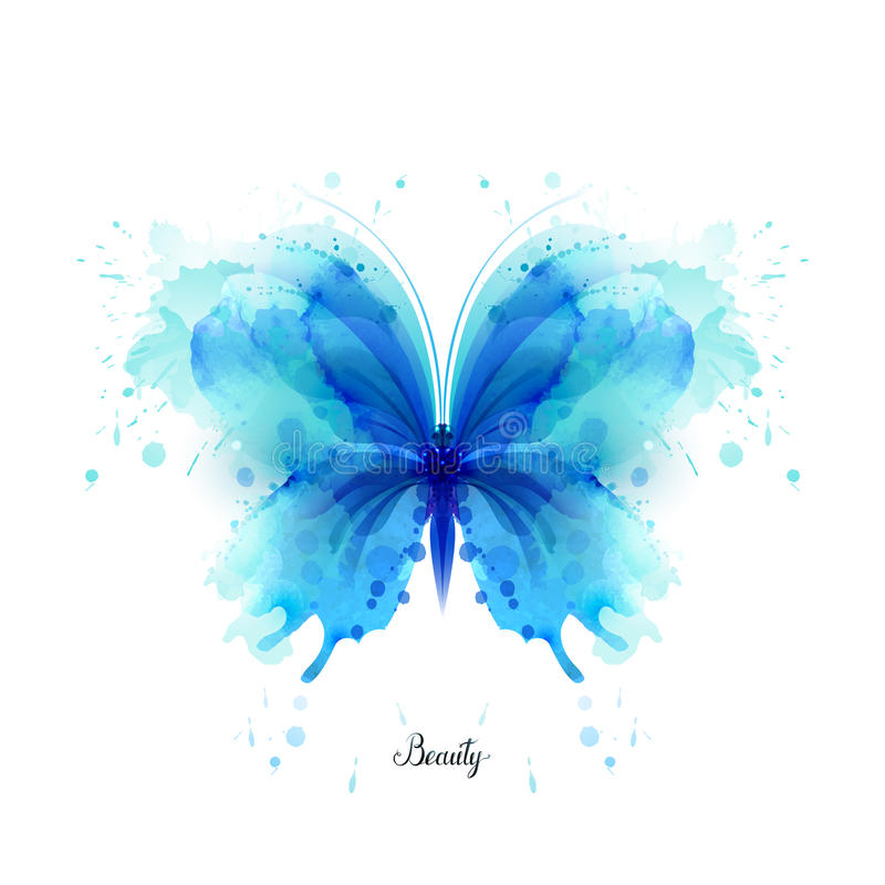 Free Beautiful Blue Watercolor Abstract Translucent Butterfly On The White Background. Stock Photo - 87389070