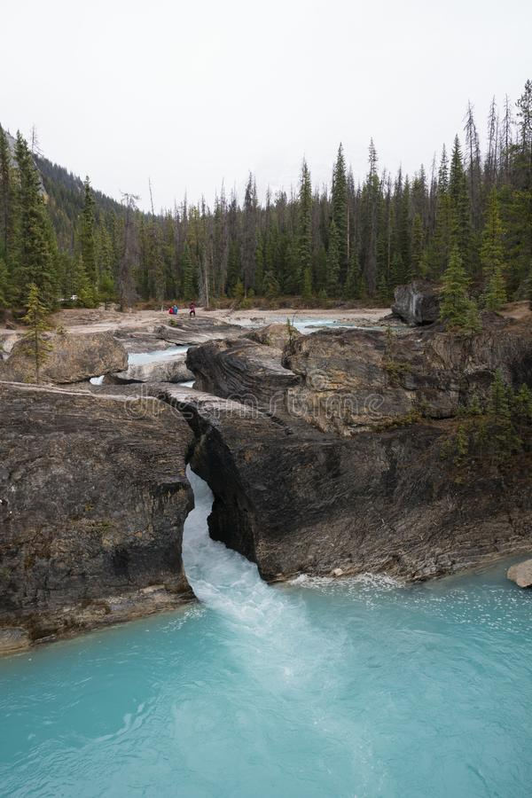 Beautiful blue waterfall in yoho national park, Canada road trip in fall stock photos