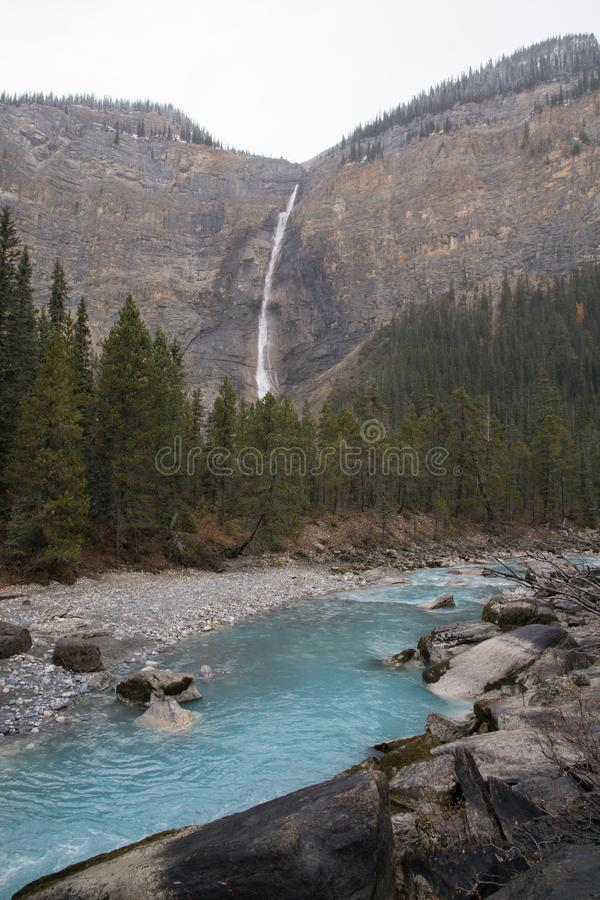 Beautiful blue waterfall in yoho national park, Canada road trip in fall stock image