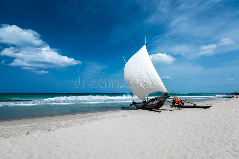 Beautiful boat in the beach in Trincomalee. Sri Lanka royalty free stock photography
