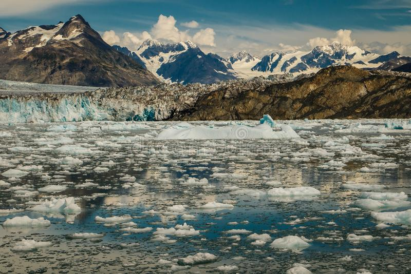 Beautiful boat trip into Prince William Sound in Alaska. Frozen beauty of Columbia glacier near town of Valdez, touristic destination number one stock photography