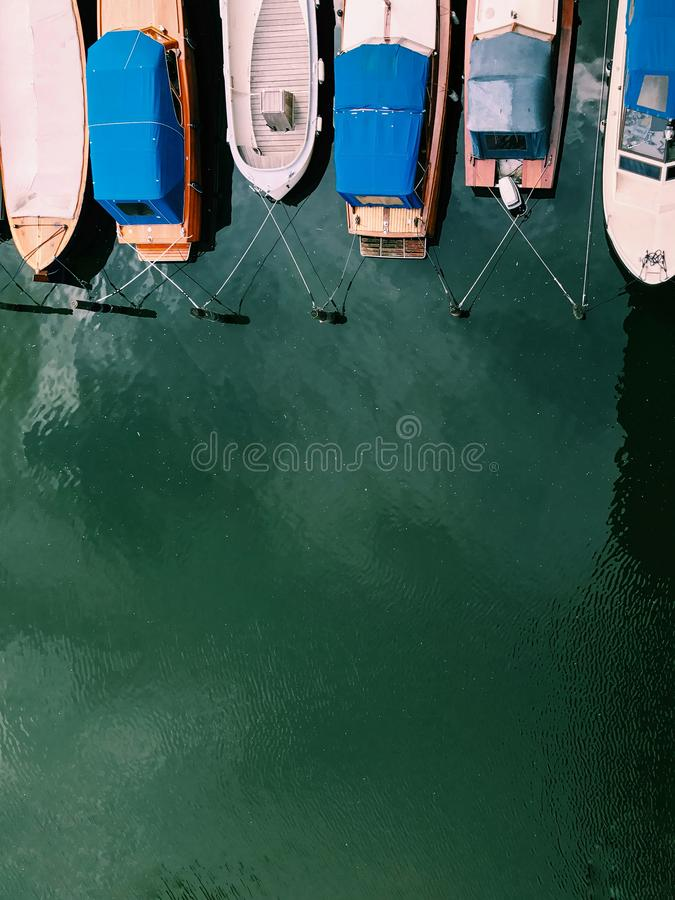Beautiful boats. Aerial view of colorful boats in Stockholm, Sweden royalty free stock photography