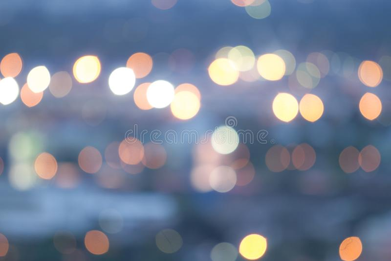 Beautiful bokeh color blue in the night. Garden in city background royalty free stock photos