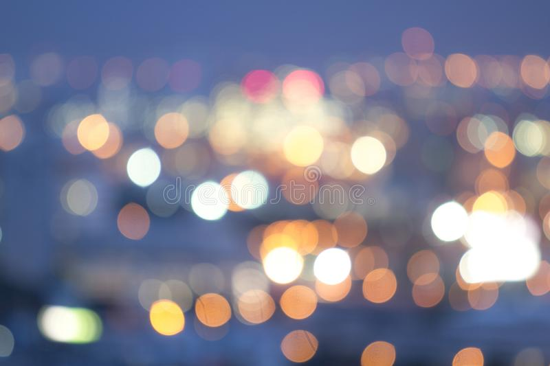 Beautiful bokeh color blue in the night. Garden in city background stock image