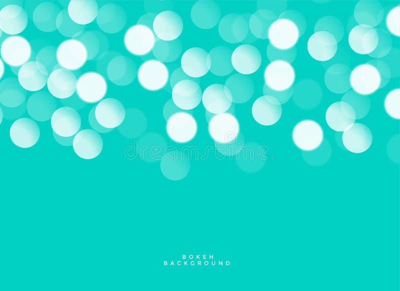 Beautiful bokeh lights on turquoise background stock illustration