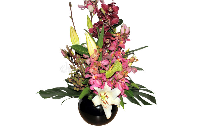 Beautiful boquet of mixed flowers isolated stock image