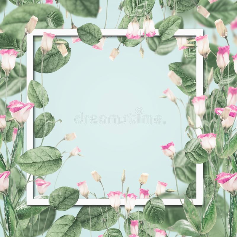 Beautiful botanical frame with pink flowers and leaves at pastel blue background. royalty free illustration
