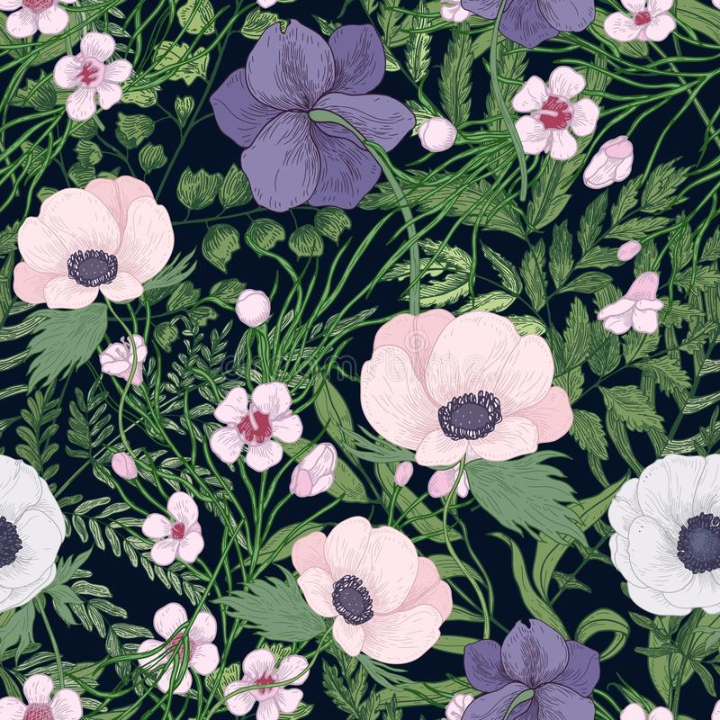 Beautiful botanical pattern with wild blooming flowers and flowering herbs on black background. Natural backdrop with vector illustration