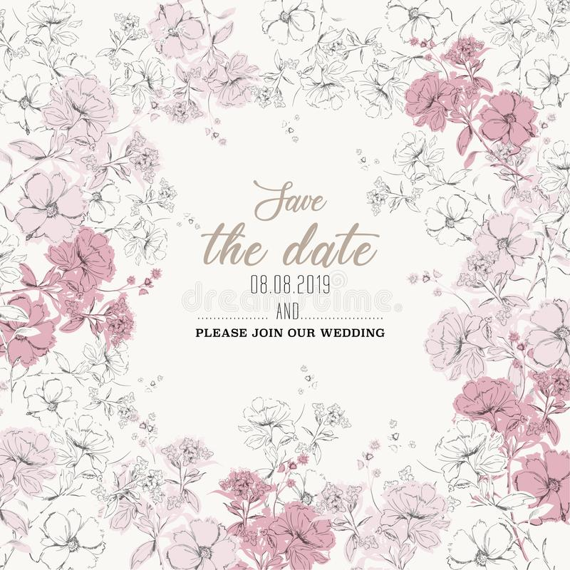Beautiful Botanical wedding invitation card  design, white and pink hand sketch  flowers vector illustration
