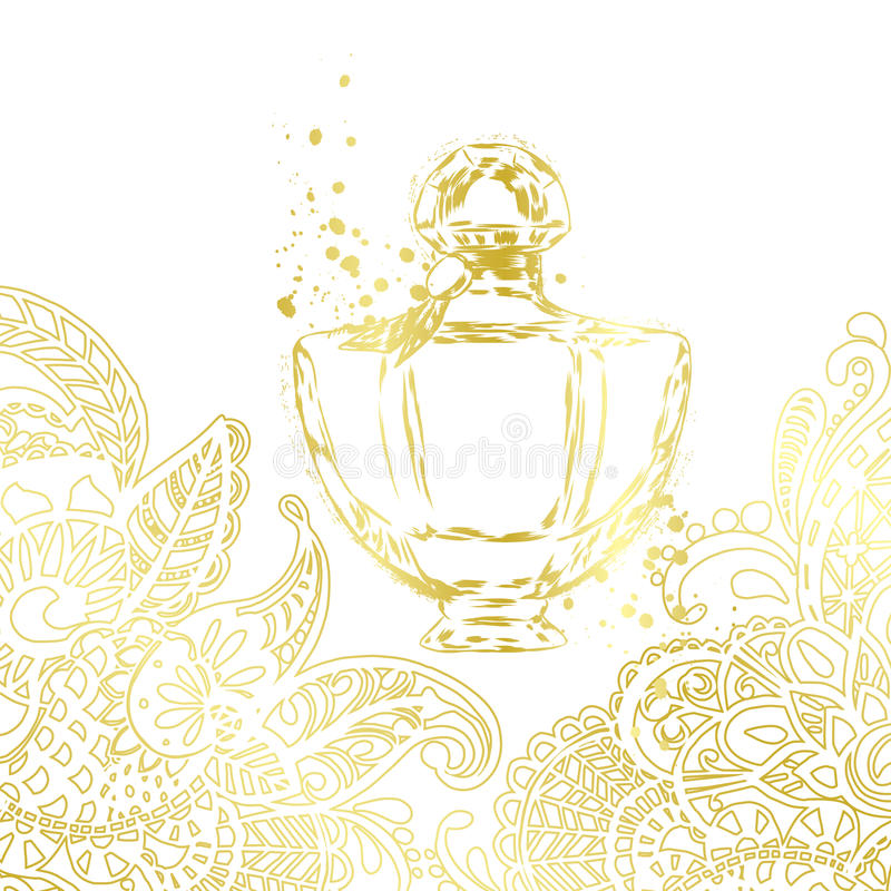 A beautiful bottle of perfume and oriental patterns. Vector illustration for a postcard or a poster, print for clothes. Styling for embossing with gold
